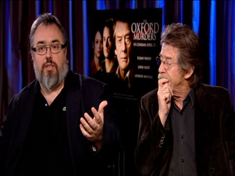 alex de la iglesia and john hurt on not needing to know about maths or philosophy to understand the film at the 'the oxford murders' junket on april... - philosophy stock videos & royalty-free footage