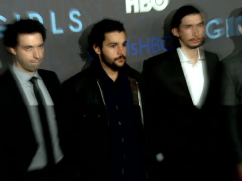 Alex Karpovsky Christopher Abbott Adam Driver amp Andrew Rannells posing for paparazzi on the red carpet at NYU Skirball Center