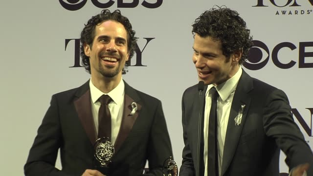 interview alex lacamoire and thomas kail talk about collaborating together on hamilton at 2016 tony awards press room at the beacon theatre on june... - 70th annual tony awards stock videos and b-roll footage