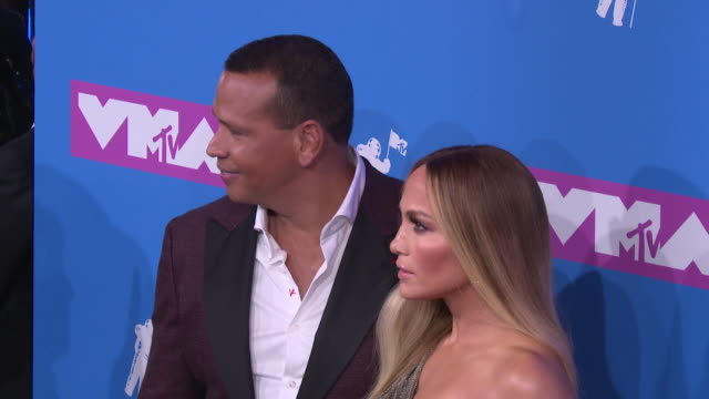 alex rodriguez and jennifer lopez at 2018 mtv video music awards at radio city music hall on august 20 2018 in new york city - mtv video music awards stock videos & royalty-free footage