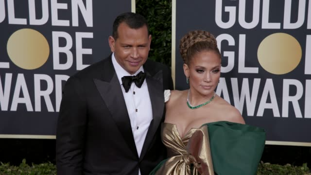 alex rodriguez and jennifer lopez at 77th annual golden globe awards at the beverly hilton hotel on january 05, 2020 in beverly hills, california. - golden globe awards stock videos & royalty-free footage