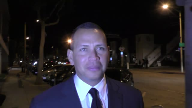 INTERVIEW Alex Rodriguez talks about the Dodgers winning game 1 of the World Series outside Craig's Restaurant in West Hollywood in Celebrity...