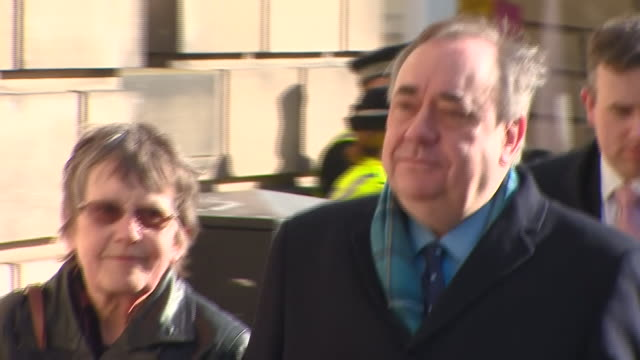 alex salmond arriving at and leaving from edinburgh high court for his sexual assault trial - courthouse stock videos & royalty-free footage