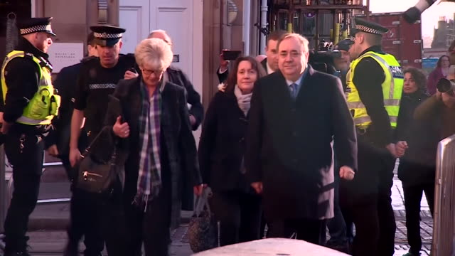 alex salmond former first minister of scotland arrives at high court in edinburgh to face trial accused of sexually assaultin 10 women while he was... - alex salmond stock videos & royalty-free footage