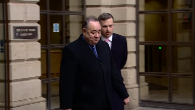 alex salmond former first minister of scotland departs edinburgh sheriff court after hearing sexual assault charges against him and walks up to... - governmental occupation stock videos & royalty-free footage