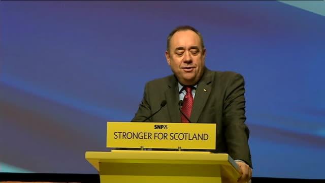 Alex Salmond speech as Nicola Sturgeon takes over SNP SCOTLAND Perth INT Nicola Sturgeon MSP along to podium Nicola Sturgeon MSP introduction SOT...