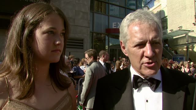 vídeos de stock, filmes e b-roll de alex trebek and his daughter emily on the event, her first red carpet experience, seeing their colleagues, contestants and viewers, that game shows... - game show