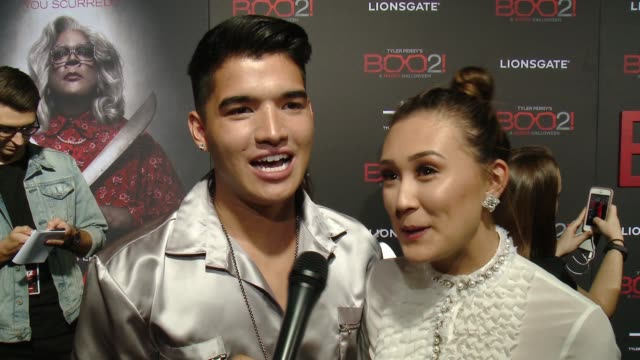 """INTERVIEW Alex Wassabi Lauren Riihimaki on the premiere at Lionsgate Presents the Los Angeles Premiere of Tyler Perry's """"Boo 2 A Madea Halloween"""" in..."""