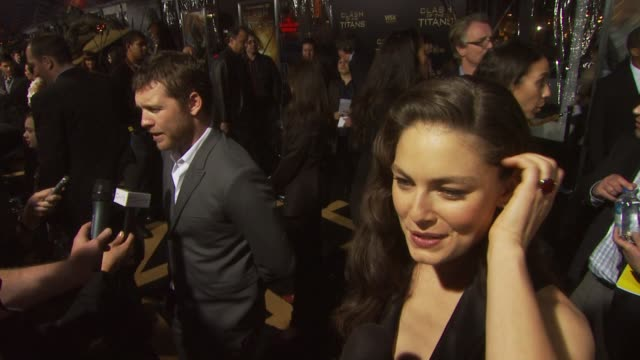 alexa davalos and sam worthington at the 'clash of the titans' premiere at hollywood ca - clash of the titans stock videos & royalty-free footage