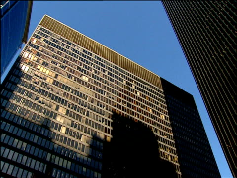 alexander calder's sculpture 'flamingo' and buildings of chicago federal center chicago - fensterfront stock-videos und b-roll-filmmaterial