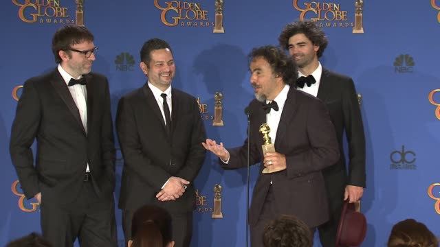 SPEECH Alexander Dinelaris Armando Bo Alejandro Gonzalez Inarritu Nicolas Giacobone at 72nd Annual Golden Globe Awards Press Room at The Beverly...