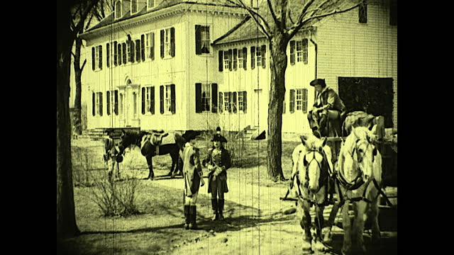 "alexander hamilton walks toward the road where man on horse pulled carriage is talking with two young men; man with carriage says to hamilton: ""them... - einzelhandelsberuf stock-videos und b-roll-filmmaterial"