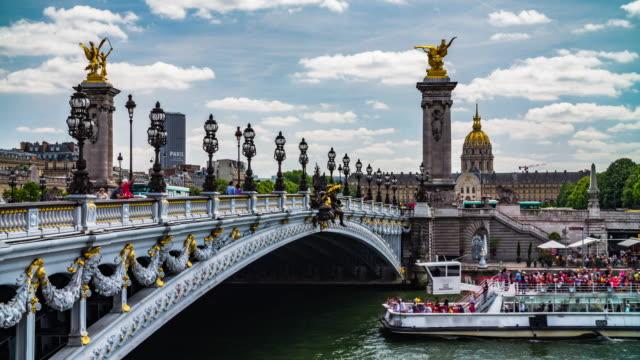 alexander iii bridge - les invalides - paris france stock videos & royalty-free footage
