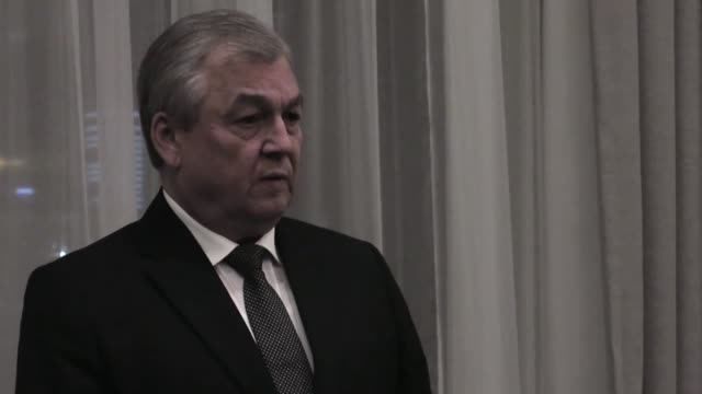 Alexander Lavrentiev the Russian president's special envoy for Syria holds a press conference during the eighth round of peace talks aimed at ending...