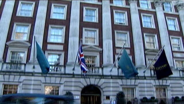 alexander litvinenko death: radiation traces found at 12 locations in london; mayfair: ext general views exterior of millenium hotel where radiation... - geographical locations stock videos & royalty-free footage