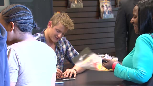 alexander ludwig at barnes noble celebrates the hunger games los angeles release on 3/22/12 in los angeles ca - barnes & noble stock videos and b-roll footage