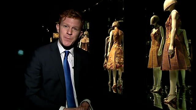 alexander mcqueen exhibition opens at victoria and albert museum london victoria and albert museum reporter to camera mannequin with pink thigh high... - human limb stock videos & royalty-free footage