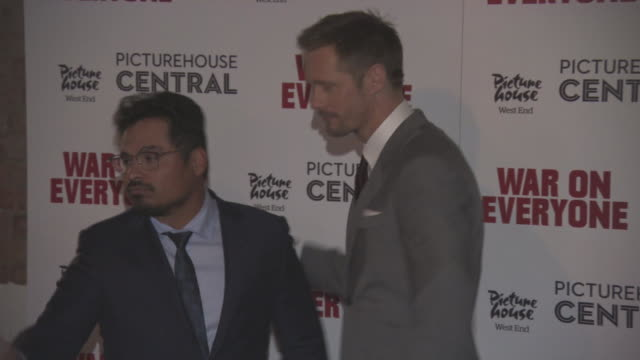 Alexander Skarsgard Michael Pena at 'War on Everyone' UK Premiere on September 29 2016 in London England