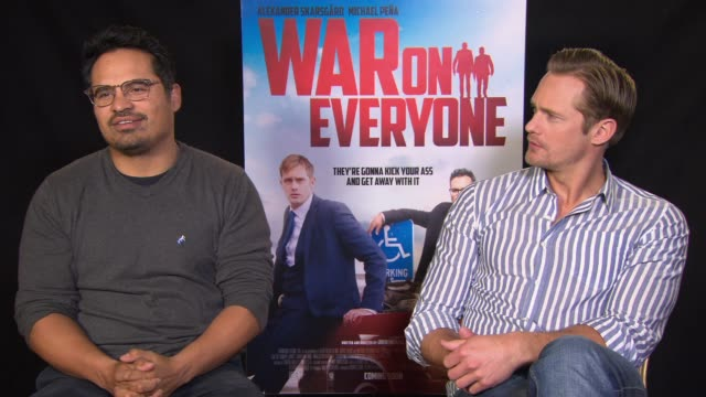 INTERVIEW Alexander Skarsgard Michael Pena on acting like a teenager trying a different script out at 'War On Everyone' Interviews 66th Berlin...