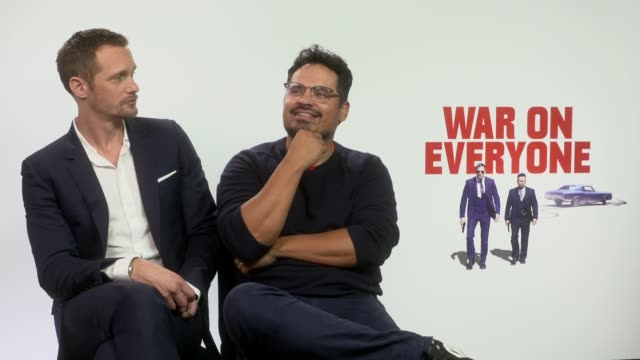 INTERVIEW Alexander Skarsgard Michael Pena on Donald Trump Hillary Clinton thoughts on the movie at 'War on Everyone' Interviews on September 28 2016...