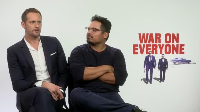 INTERVIEW Alexander Skarsgard Michael Pena on his famous youtube video of him singing at the football game John Michael McDonagh seeing it on youtube...