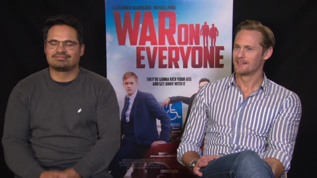 INTERVIEW Alexander Skarsgard Michael Pena on John Michael McDonagh casting them drinking chanting at a football game at 'War On Everyone' Interviews...