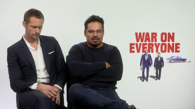 INTERVIEW Alexander Skarsgard Michael Pena on waiting for someone to play Terry Monroe Daniel DayLewis being in this film at 'War on Everyone'...