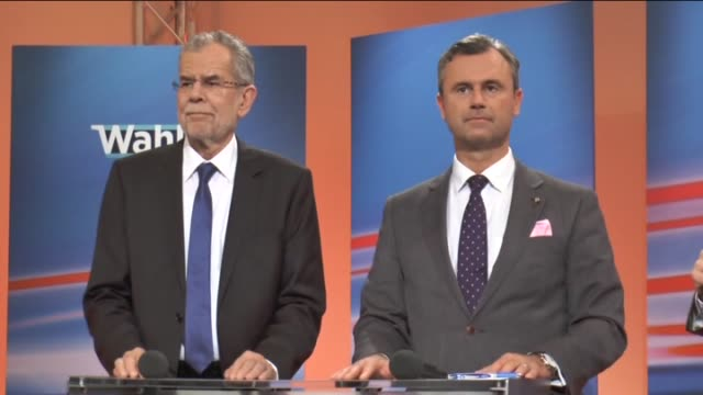 alexander van der bellen presidential candidate of austria's green party and rightwing austrian freedom party presidential candidate norbert hofer... - österreichische kultur stock-videos und b-roll-filmmaterial