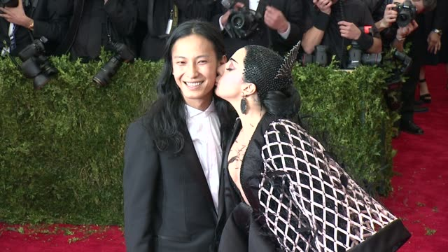 "alexander wang and lady gaga at ""china: through the looking glass"" costume institute benefit gala - arrivals at metropolitan museum of art on may 04,... - 2015 stock videos & royalty-free footage"