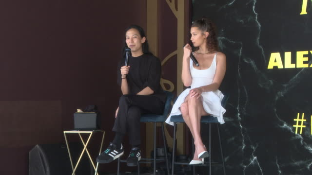 interview alexander wang bella hadid on the secret of fashion and what makes a woman sexy at magnum x alexander wang launch the 71st annual cannes... - bella hadid stock videos & royalty-free footage