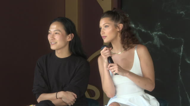 interview alexander wang bella hadid on what kind of flavour of ice cream they would be at magnum x alexander wang launch the 71st annual cannes film... - bella hadid stock videos & royalty-free footage