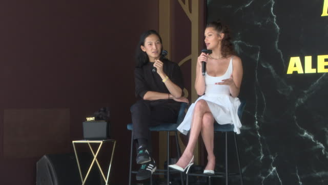 interview alexander wang bella hadid on what they like to do in their spare time at magnum x alexander wang launch the 71st annual cannes film... - bella hadid stock videos & royalty-free footage