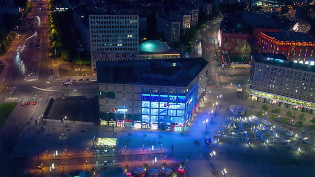 T/L WS HA ZO Alexanderplatz at night / Berlin, Germany