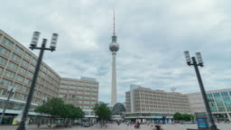 Alexanderplatz is a large public square and transport hub in the central Mitte district of Berlin. The Television Tower one of the most prominent symbols of Germany . Time lapse sequence