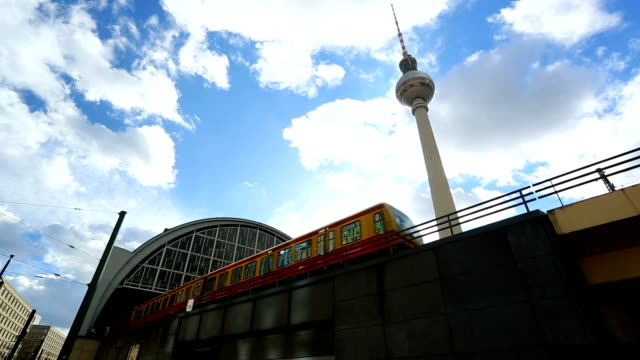 alexanderplatz with s-bahn and tv tower in berlin, realtime - alexanderplatz stock videos & royalty-free footage