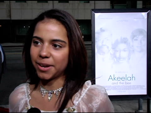 vidéos et rushes de alexandra rieger on her character in the film and the word she had to spell at the 'akeelah and the bee' los angeles premiere at academy of motion... - academy of motion picture arts and sciences