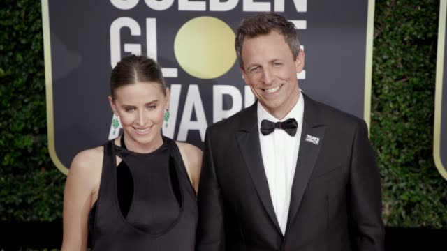 alexi ashe and seth meyers at the 75th annual golden globe awards at the beverly hilton hotel on january 07 2018 in beverly hills california - alexi ashe stock videos and b-roll footage
