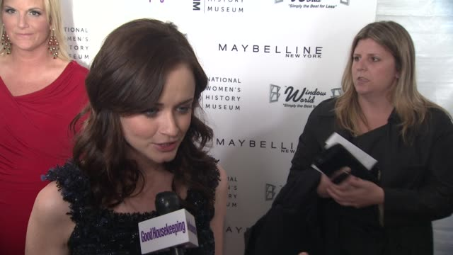 alexis bledel talks about presenting tonight, what women inspire her the most, why the first national women's history museum in washington dc is so... - alexis bledel stock videos & royalty-free footage