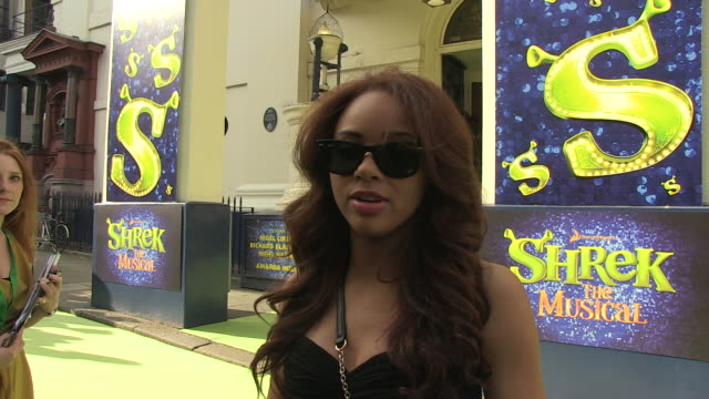 Alexis Jordan on her single video tour being a fan of Shrek at the Shrek The Musical Press Night at London England