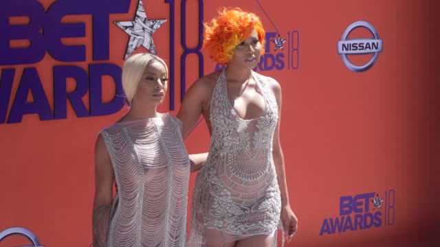 Alexis Skyy and Just Brittany at the 2018 BET Awards at Microsoft Theater on June 24 2018 in Los Angeles California