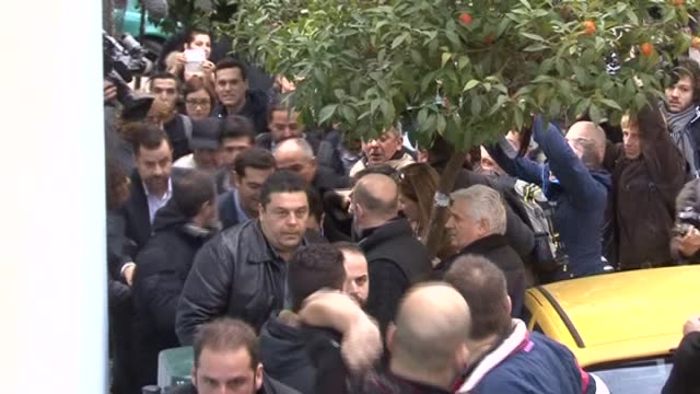 alexis tsipras, leader of the opposition and leader of the coalition of the radical left , casts his ballot at a polling station in athens during... - 2015 stock videos & royalty-free footage