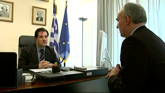 alexis tsipras sworn in as new prime minister panos kammenos from building and along through press scrum/ panos kammenos responding to itn reporter's... - all european flags stock videos and b-roll footage