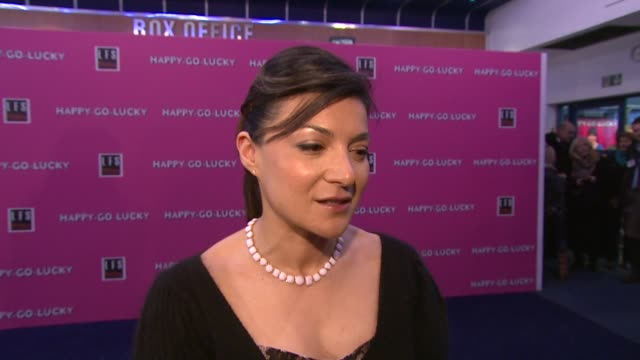 alexis zegerman on being in a mike leigh film and working with sally hawkins at the 'happy go lucky' premiere on april 14 2008 - sally hawkins stock-videos und b-roll-filmmaterial