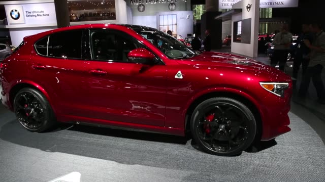 alfa romeo stelvio sports utility vehicles are displayed during automobility la ahead of the los angeles auto show in los angeles california us on... - motor show stock videos and b-roll footage