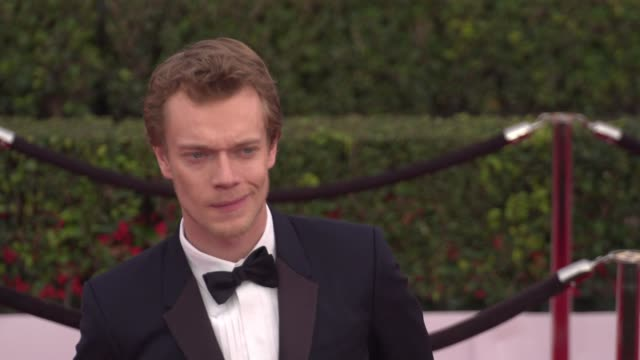 alfie allen at the 22nd annual screen actors guild awards - arrivals at the shrine auditorium on january 30, 2016 in los angeles, california. 4k... - shrine auditorium stock videos & royalty-free footage