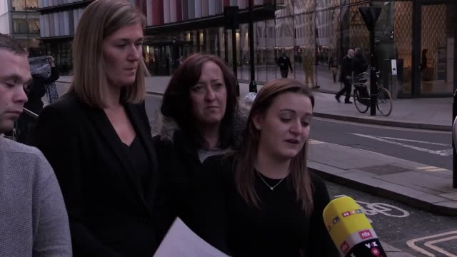alfie lamb's aunt ashleigh jeffrey and detective chief inspector simon harding speak outside the old bailey in london, after stephen waterson was... - aunt stock videos & royalty-free footage