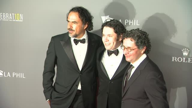 alfonso cuaron gustavo dudamel at the los angeles philharmonic's walt disney concert hall 10th anniversary 09/30/13 - alfonso cuaron stock videos & royalty-free footage