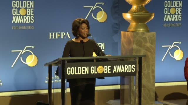 alfre woodard announces motion picture nominees at the 75th annual golden globe award nominations at the beverly hilton hotel on december 11, 2017 in... - アルフレ・ウッダード点の映像素材/bロール