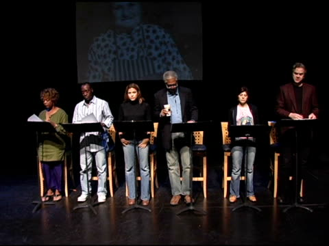 Alfre Woodard Don Cheadle Eva Mendes Morgan Freeman Marisa Tomei and Tim Robbins rehearse for the reading of 'Impossible Boulevard From Homelessness...