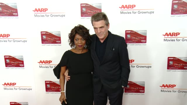 alfre woodard roderick spencer at aarp's 16th annual movies for grownups awards in los angeles ca - alfre woodard stock videos & royalty-free footage